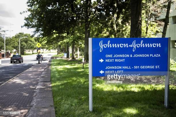 Signage is displayed outside Johnson & Johnson headquarters in New Brunswick, New Jersey, U.S., on Saturday, Aug. 1, 2020. Johnson & Johnson's...