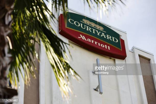 Signage is displayed outside of a Courtyard by Marriott hotel in St Petersburg Florida US on Thursday Feb 7 2019 Marriott International Inc is...