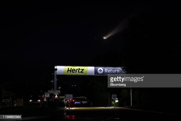 Signage is displayed outside of a Hertz Global Holdings Inc. Rental location at Los Angeles International Airport in Los Angeles, California, U.S.,...