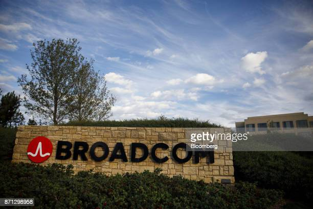 Signage is displayed outside of Broadcom Ltd headquarters in Irvine California US on Monday Nov 6 2017 Broadcom Ltdand its advisers are gearing up...