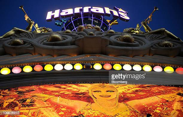 Signage is displayed outside of Harrah's Casino in Las Vegas Nevada US on Friday Nov 5 2010 Harrah's Entertainment Inc the world's biggest casino...