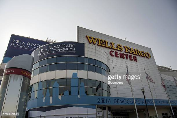 Signage is displayed outside of the Wells Fargo Center ahead of the Democratic National Convention in Philadelphia Pennsylvania US on Saturday July...
