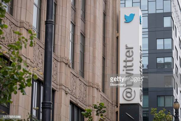 Signage is displayed outside of Twitter headquarters in San Francisco, California, U.S., on Thursday, July 16, 2020. AsTwitter Inc.Grapples with...