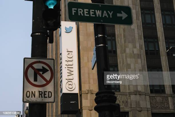 Signage is displayed outside of Twitter Inc headquarters in San Francisco California US on Thursday Nov 15 2018 Most tech stocks have been plunging...