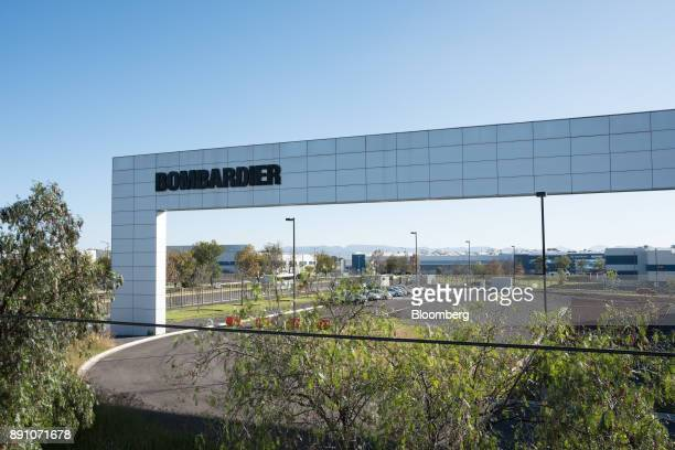 Signage is displayed outside the Bombardier Inc Aerospace manufacturing facility in Queretaro Mexico on Tuesday Nov 7 2017 With 312 registered...