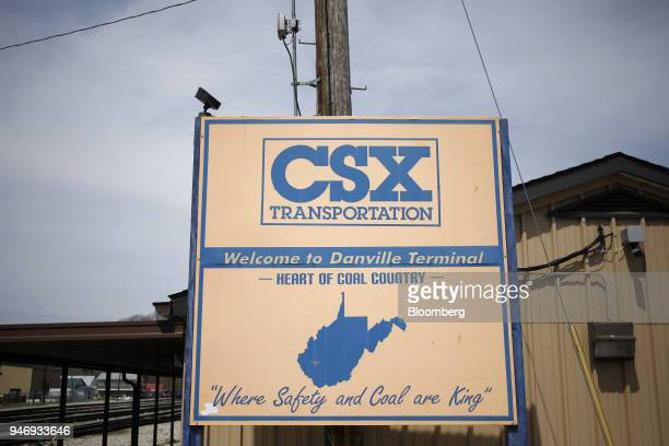 Signage is displayed outside the CSX Transportation Inc train terminal building in Danville West Virginia US on Saturday April 14 2018 CSX Corp is...