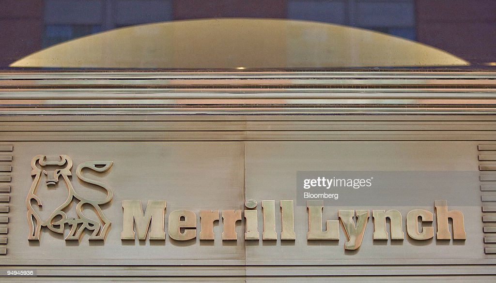 Signage is displayed outside the offices of Merrill Lynch & : News Photo