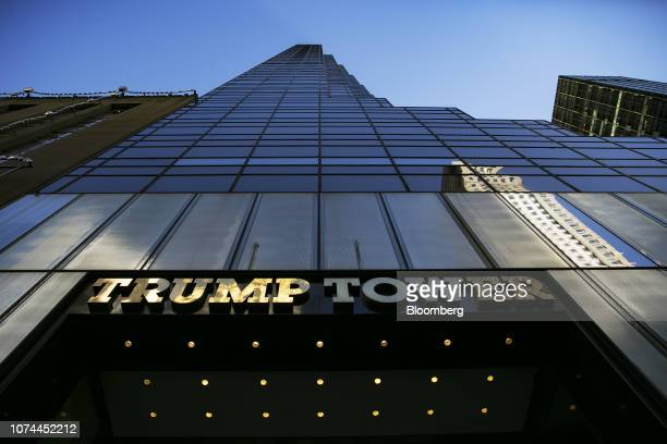 Signage is displayed outside Trump Tower in New York, U.S., on Wednesday, Dec. 19, 2018. In late November, Special CounselRobert Mueller secured a...