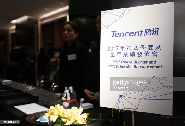 Signage is displayed prior to a Tencent Holdings Ltd news conference in Hong Kong China on Wednesday March 21 2018 Tencent posted quarterly profit...