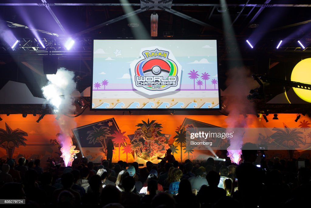 Signage is illuminated during the 2017 Pokmon Co. World Championships in Anaheim, California, U.S., on Friday, Aug. 18, 2017. The invitation-only event brings the best players from around the world to compete for the title of Pokémon TCG, Video Game, or Pokkén Tournament World Champion. Photographer: Troy Harvey/Bloomberg via Getty Images