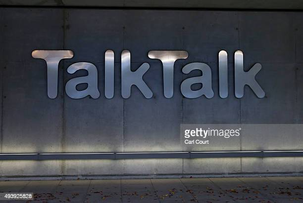 Signage is pictured on the exterior of the headquarters for the Talk Talk telecommunications company are pictured on October 23 2015 in London...