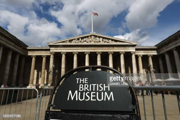 Signage is pictured outside the The British Museum in central London on August 24 2018
