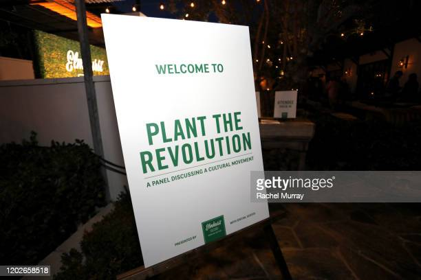 Signage is seen as Elmhurst 1925 celebrates PlantBased Movement with Plant the Revolution panel discussion at Gracias Madre on January 28 2020 in...