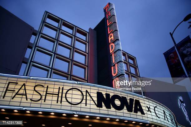Signage is seen as Fashion Nova Presents Party With Cardi at Hollywood Palladium on May 8 2019 in Los Angeles California