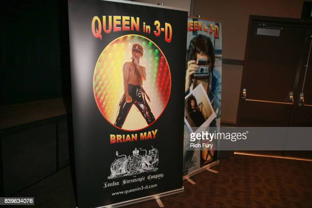 Signage is seen at a presentation by Brian May of his new book 'Queen in 3D' at Disney Studios on August 25 2017 in Burbank California