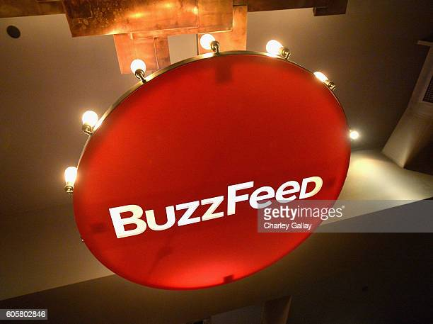 Signage is seen at The Buzzies BuzzFeed's PreEmmy party produced by PenPublic at HYDE Sunset Kitchen Cocktails on September 14 2016 in West Hollywood...
