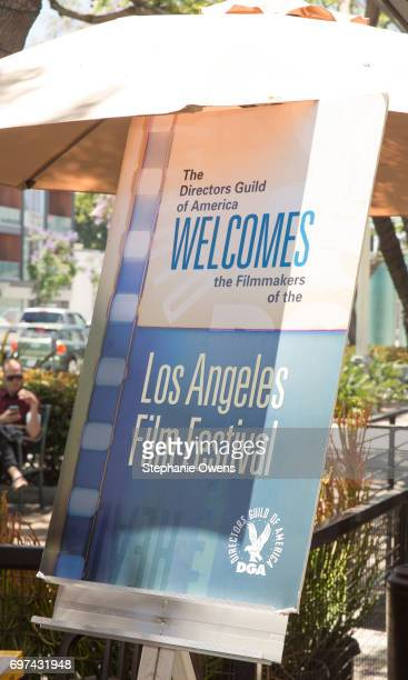 Signage is seen at the DGA Reception during 2017 Los Angeles Film Festival at City Tavern on June 16 2017 in Culver City California