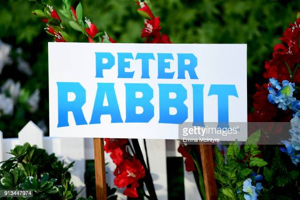 Signage is seen at the photo call for Columbia Pictures' 'Peter Rabbit' at The London Hotel on February 2 2018 in West Hollywood California