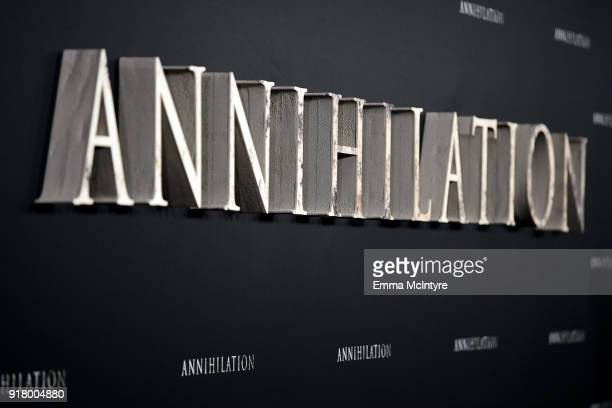 Signage is seen at the premiere of Paramount Pictures' 'Annihilation' at Regency Village Theatre on February 13 2018 in Westwood California