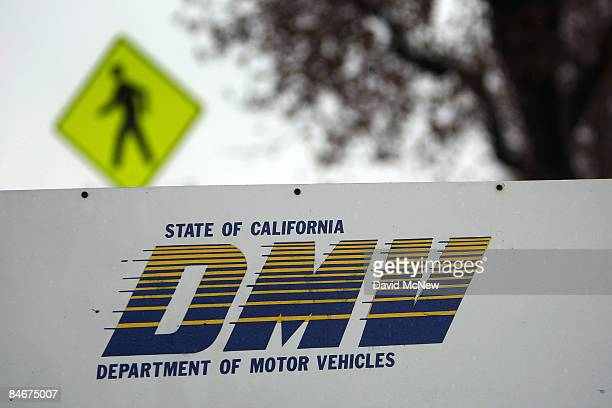 Signage is seen at the State of California Department of Motor Vehicles February 6 2009 in Pasadena California The DMV is closed as part of the first...
