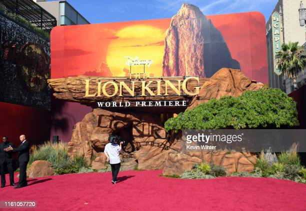 "Signage is seen before the premiere of Disney's ""The Lion King"" at Dolby Theatre on July 09, 2019 in Hollywood, California."