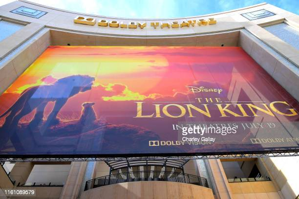 Signage is seen during the World Premiere of Disney's THE LION KING at the Dolby Theatre on July 09 2019 in Hollywood California