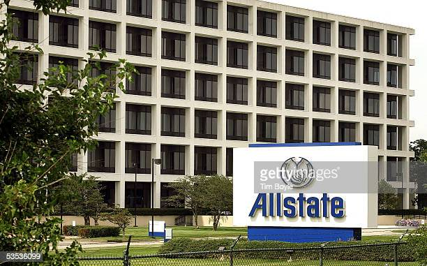 Signage is seen in front of a building on the Allstate corporate campus August 30 2005 in Northbrook Illinois Damage from Hurricane Katrina may...