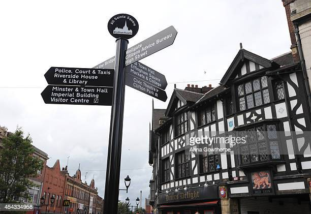 Signage is seen in the town centre on August 29 2014 in Rotherham England A report released on Tuesday claims at least 1400 children as young as 11...