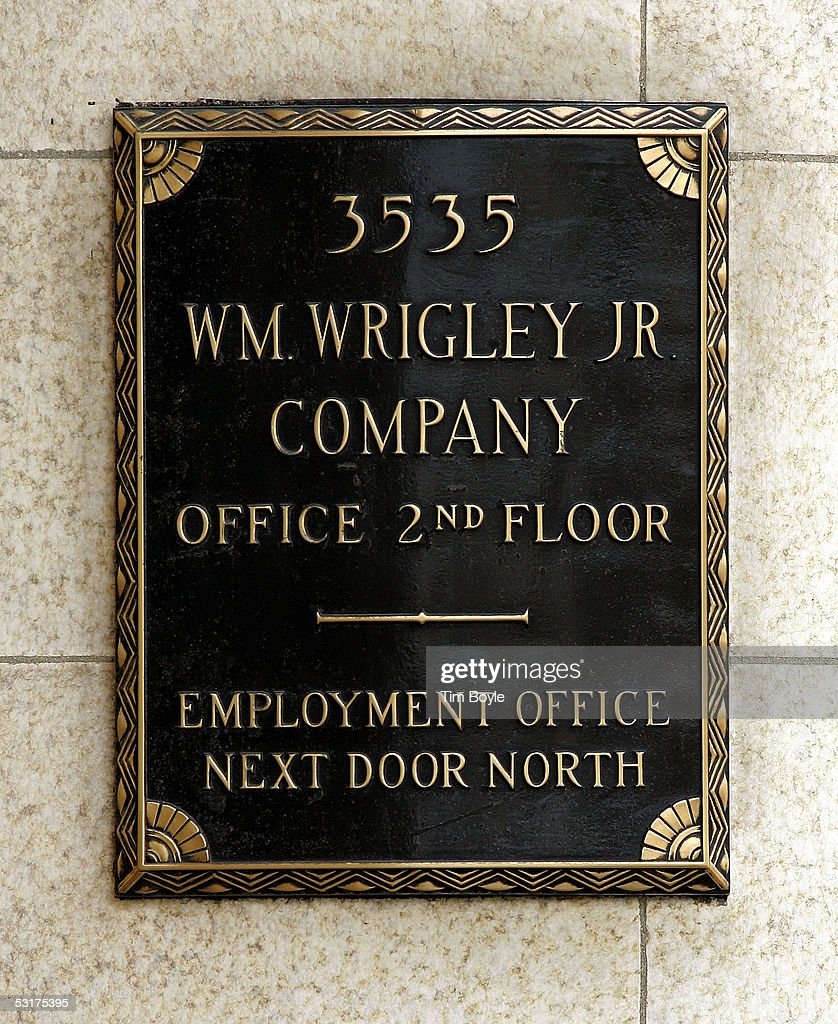 Signage is seen near the front entrance of the Wm. Wrigley Jr. building June 30, 2005 in Chicago, Illinois. Chicago-based Wm. Wrigley Jr. has said it will close this 94-year-old factory that produces the company's chewing gum, effecting close to 600 workers, after its acquisition of Kraft Foods' Life Savers and Altoids brands June 29.