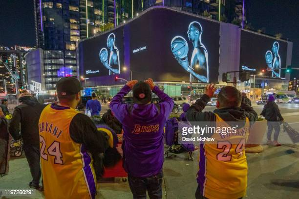 Signage memorializes former NBA great Kobe Bryant who along with his 13yearold daughter Gianna died January 26 in a helicopter crash on January 28...