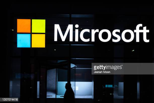 Signage of Microsoft is seen on March 13, 2020 in New York City. Co-founder and former CEO of Microsoft Bill Gates steps down from Microsoft board to...