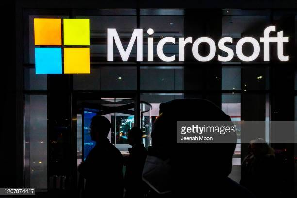 A signage of Microsoft is seen on March 13 2020 in New York City Cofounder and former CEO of Microsoft Bill Gates steps down from Microsoft board to...