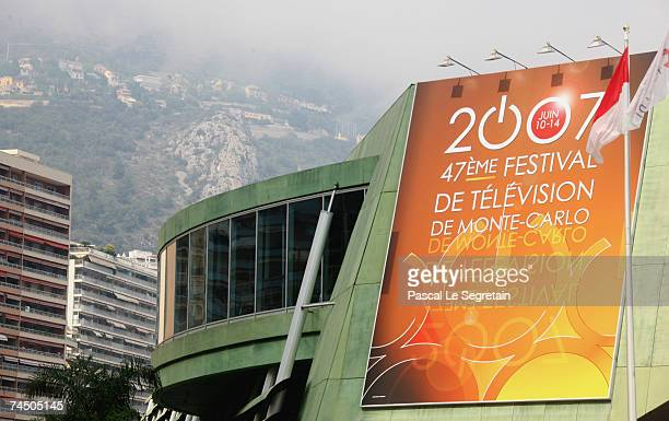 Signage of the 2007 Monte Carlo Television Festival is seen outside the Grimaldi Forum during the festival opening night on June 10 2007 in Monaco