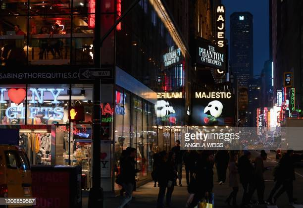 Signage of the Broadway play The Phantom of the Opera seen at Time Square on March 12 2020 in New York City New York Governor Andrew Cuomo on March...
