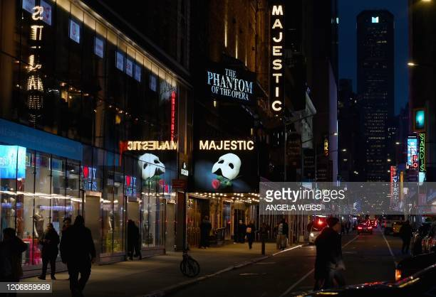 """Signage of the Broadway play """"The Phantom of the Opera"""" seen at Time Square on March 12, 2020 in New York City. - New York Governor Andrew Cuomo on..."""