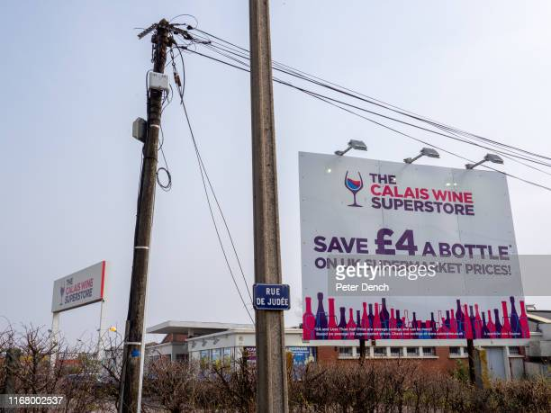 Signage of the Calais Wine Superstore on April 7 2019 in CalaisFrance The booze cruise to Calais is making a comeback Retailers in the French ferry...