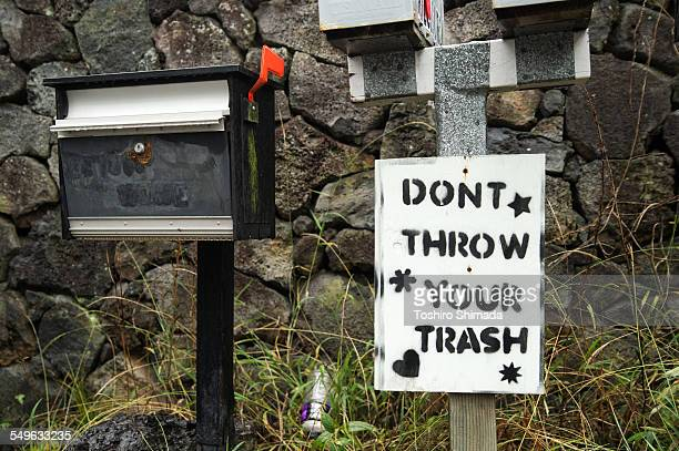 a signage of throwing trash - domestic mailbox stock pictures, royalty-free photos & images