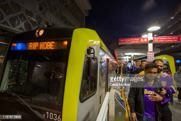 Signage on a Metro train near Staples Center pays tribute to Kobe Bryant before the first Lakers game since the former NBA star and his 13yearold...