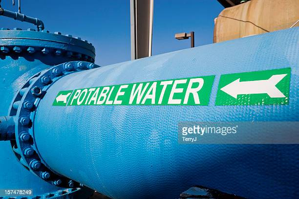 Signage on Large Water Pipe for Potable Water