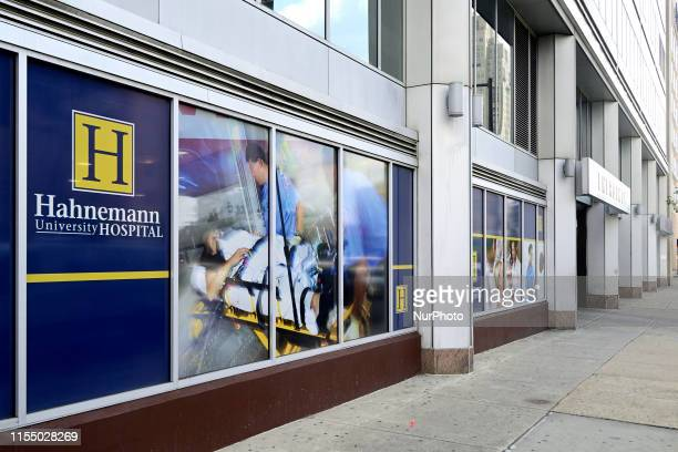Signage on the exterior of Hahnemann University Hospital in Philadelphia PA on July 10 2019 The struggling Center City located hospital owned by...