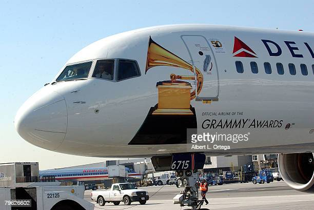 Signage on the specially chartered Delta Air Lines plane in which musician John Legend performed a live 'Rock The Skies' concert inflight from New...