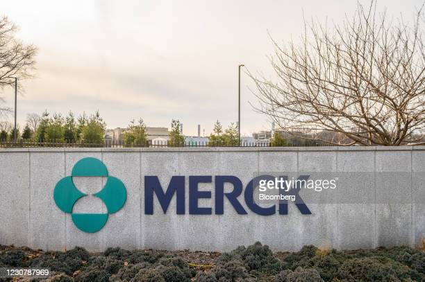 Signage outside Merck & Co. Headquarters in Kenilworth, New Jersey, U.S., on Monday, Jan. 25, 2021. Merck & Co.Is discontinuing development of its...