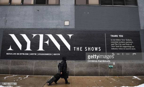 Signage outside of Spring Studios during February 2021 - New York Fashion Week: The Shows on February 11, 2021 in New York City.