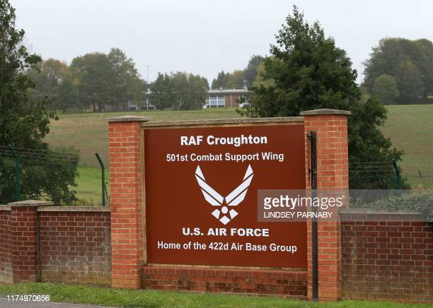 Signage outside RAF Croughton is pictured in Northamptonshire central England on October 10 near to where British motorcyclist Harry Dunn was killed...