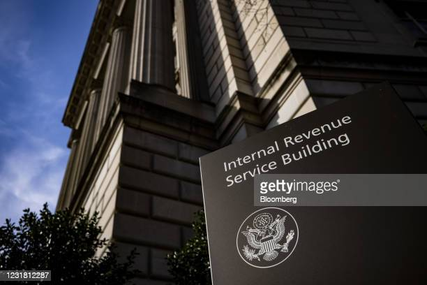 Signage outside the Internal Revenue Service headquarters in Washington, D.C., U.S., on Friday, March 19, 2021. The IRS is delaying the April 15...
