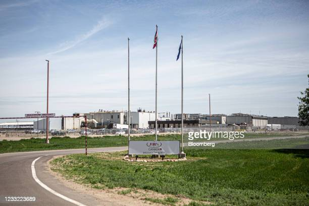 Signage outside the JBS beef plant in Brooks, Alberta, Canada, on Tuesday, June 1, 2021. A cyberattack on JBS SA, the world's largest meat producer,...