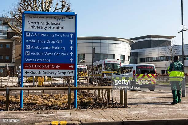 Signage outside the North Middlesex Hospital, Edmunton, London. UK