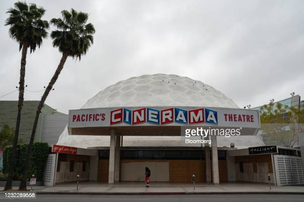 Signage outside the Pacific Theatres' Cinerama Dome, part of the ArcLight Hollywood complex, permanently closed in Hollywood, California, U.S. On...