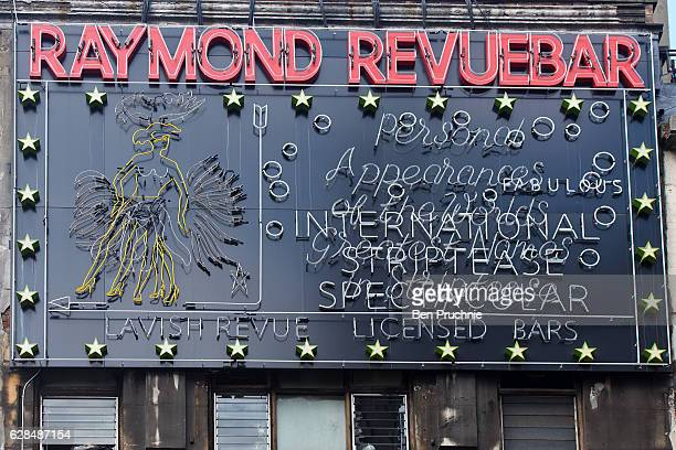 Signage outside the Raymond Revuebar which closed in 2004 in Soho on March 29 2016 in London England Long established as the West Ends entertainment...