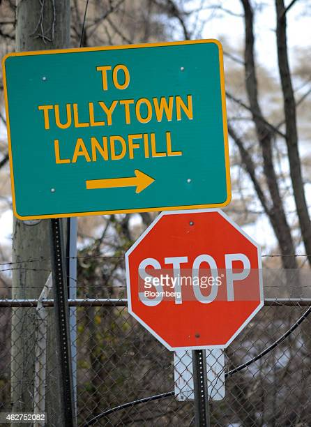 Signage points the way to the landfill in Tullytown Pennsylvania US on Wednesday Feb 4 2015 Dumping fees from two of the busiest landfills in the...